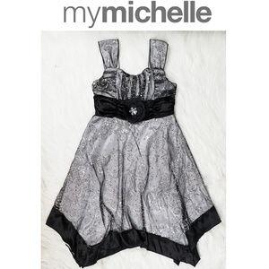 My Michelle Black Sequins Assymetrical Dress Sz 8